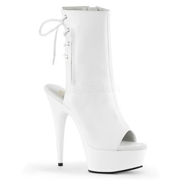White Faux Leather Ankle Stripper Boot 6 Inch Heels