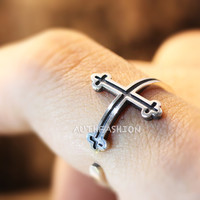 Sterling Silver Simple Celtic Cross Ring Size Adjustable Open Ring Gift Idea