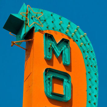 Retro wall decor, turquoise, orange, mid century design, vintage neon sign, motel sign, summer roadtrip - MO 8x8