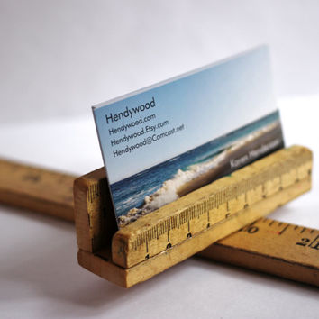 Wooden Business Card Holder Repurposed Vintage Ruler Reclaimed Wood by Hendywood