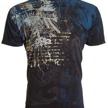 Licensed Official ARCHAIC by AFFLICTION Mens T-Shirt CASCO Eagle Wings BLACK Tattoo Biker UFC $40