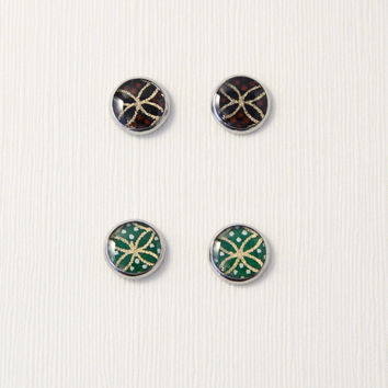 Black/green stud earrings, abstract seven treasure design, Japanese washi Chiyogami jewelry, hypoallergenic surgical steel, made to order