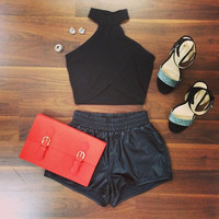 Jenna Black Crop Top - Furor Moda - Tops - Dresses - Jackets - Vintage