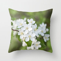 Spring Blossom Pillow Cover White Pillow Covers Shabby Chic Home Decor Flower Photo Pillow Cotton Decorative Pillow Cover