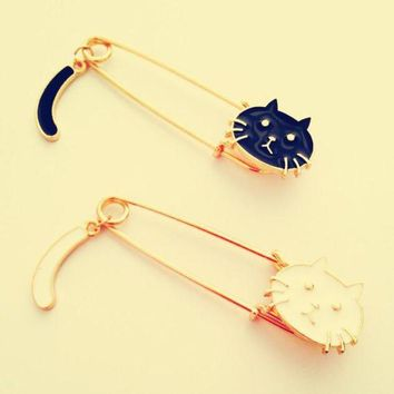DCCKH6B 2016 cute cat Animal Pins Cute black white Cat  Costume Sweater Brooches pin Accessorries jewelry broches