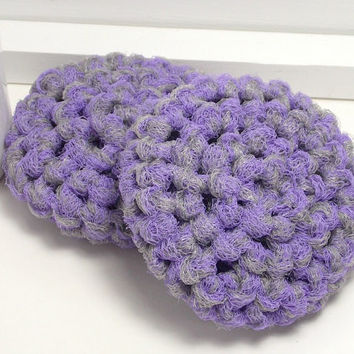 Crochet Scrubbies, Dish Scrubbies, Eco Kitchen, Crochet Set of 2, Grey & Lilac, Gifts Under 5