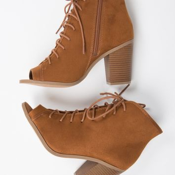 Peep Toe Lace Up Booties