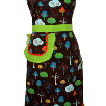 Retro Apple Trees Full Apron - Lime Green and Orange Accents - Adult