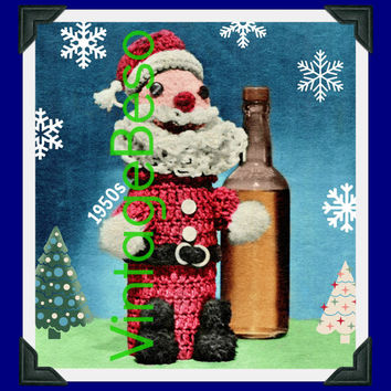Santa CROCHET Pattern Vintage 1950s RARE Christmas Bottle Cover Hard to Find Jolly Santa Liquor Wine Mad Men Instant Download PDF Pattern