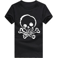 Summer Men T Shirt Skull Swag Printing Bodybuilding Top Tees Sportwear Clothing Round Neck S-2XL