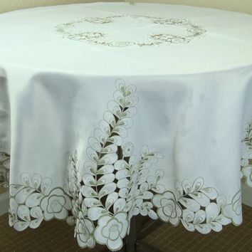 """Elegant Linen Embroidered Cutwork Embroidery Tablecloth 60"""" Round & 12 Napkins"""