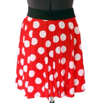 Minnie Skirt- Red and White Polka Dot Disneybounding Mouse Circle Skirt