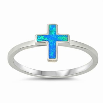 .925 Sterling Silver Blue Opal Cross Ring Ladies and Kids Size 5-10 Upright Vertical Midi Thumb
