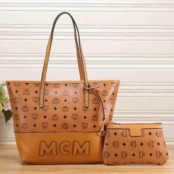 MCM Women Leather Handbag Tote Shoulder Bag Clutch Bag Set Two-Piece