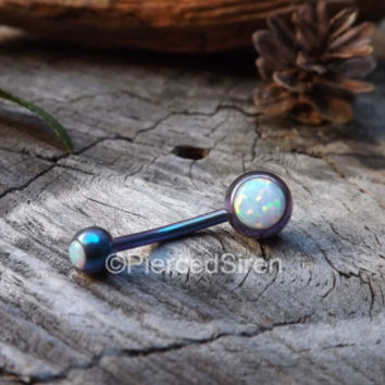 "Opal belly button ring 14g white opals anodized titanium navel piercing jewelry 1/2"" vch belly button piercing jewelry internally threaded"