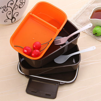 1410ml Japan Style Double Tier Bento Set Meal Tableware Microwave Oven with Food Grade PP/PS Include Fork Bonus