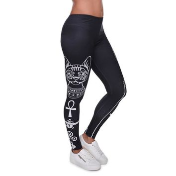 Ladies High Elasticity Egyptian Cat Symbols Printed Leggings Plus Many Others