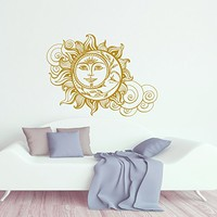 Sun And Moon Wall Decal Crescent Moon Decor Ethnic Symbol Decal Bedroom Decor Dorm Bohemian Boho Decal Sun And Moon Wall Art Decor SN70