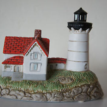 "Rare Lefton Hand Painted China ""Cape Neddick"" Lighthouse No.11518 - Hard to Find"