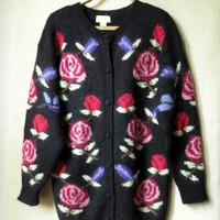 vintage 80s oversized cardigan sweater - black with multi colored flowers - Rosanna