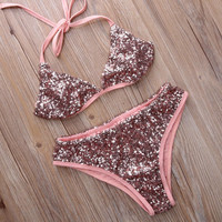 Sexy Edgy Strapless Sequin Bikini Set Swimsuit Swimwear