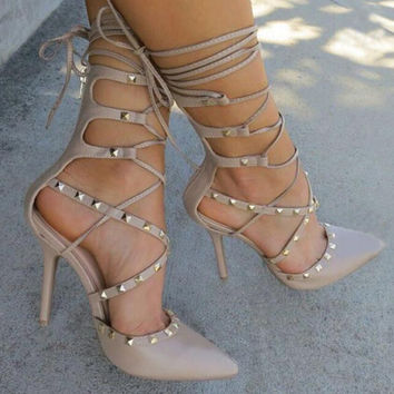 Amelia Cross Lace Up Studded Heels