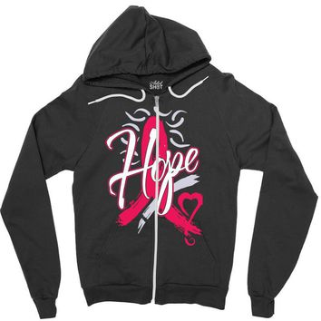 breast cancer awareness hope ribbon heart Zipper Hoodie