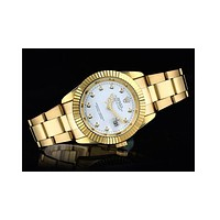 Rolex three-fold belt gear shell with a small drill F-SBHY-WSL Gold wristband + gold dial