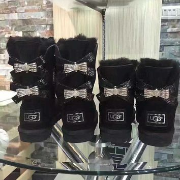 UGG Hot style wool queen diamond bow ultra female beauty with thick warm ugg boots two style Black
