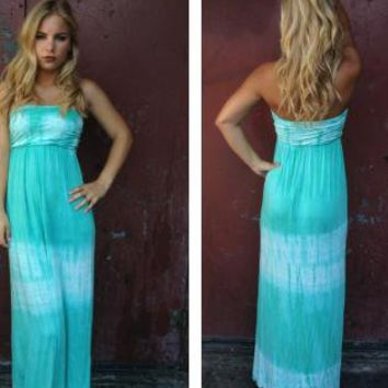 Mint Strapless Tie Dye Print Maxi Dress