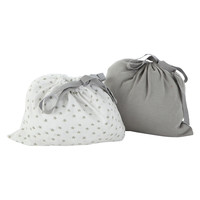 Grey fitted crib sheet set