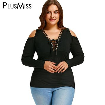 Plus Size 5XL Autumn 2017 Cold Shoulder Tops Women Long Sleeve Sexy V Neck Lace Up T-shirt Black Tees Tops Ladies T Shirts