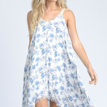 Floral Hanky Framed Hem Dress - White/Blue