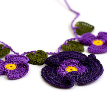 Crochet Lace Violet Necklace Yellow Purple Hippie Boho Ottoman Tile Motif Flower Iznik Doily