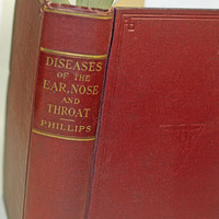 """Antique Medical Textbook 1921 Diseases of the Ear, Nose, and Throat""""  Gift for ENT Docs Nurses"""