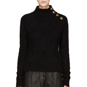 Balmain Black Textured Knit Buttoned Sweater