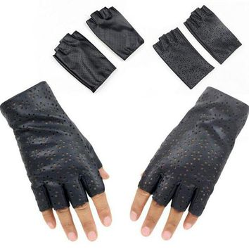 ac DCCKO2Q Fashion Female Thin Breathable PU Leather Punk Dance Gloves Women Half Finger Driving Gloves Fingerless Nightclub Show Glove L68