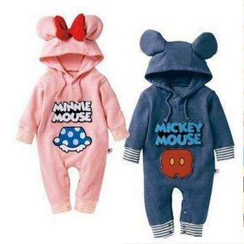 2017 New baby minnie mouse romper baby boys girls mickey romper 100% cotton long sleeve baby hoodie jumpsuits retail