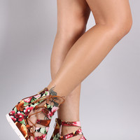 Floral Print Strappy Side Lace-Up Gladiator Wedge Sandal