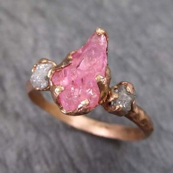 Raw Spinel Diamond Rose Gold Engagement Ring Wedding Ring Custom One Of a Kind Pink Gemstone Ring Three stone Ring