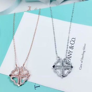 Tiffany New fashion diamond love heart pendant women sterling silver necklace