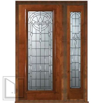 Prehung Side light Door 80 Wood Alder Palacio Full Lite Glass