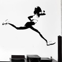 Wall Sticker Running Runner Jog Jogging Girl Woman Female Vinyl Decal Unique Gift (z3030)