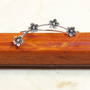 Sterling Silver Tiny Flower Ear Climbers, Silver Ear Crawler, Silver Ear Sweeps, Silver Earrings, Flower Earrings