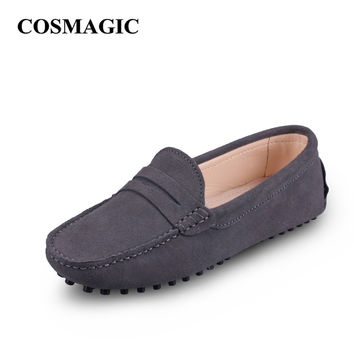 New Driving Loafers Women Flats 2017 Spring Casual Soft Nubuck Leather Slip on Lady Moccasins Walking Boat Shoes Free Shipping