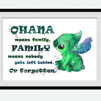 Ohana Stitch quote watercolor print Lilo and Stitch art poster Disney art decor Home decoration Kids room wall art Nursery room decor W29
