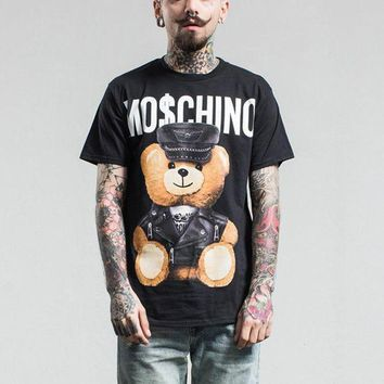 Tide Brand Fashion Men Women T Shirt 2017 Top Quality Leather Bear Toy Cotton Casual Short Sleeve Men Top Tees