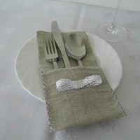 FREE SHIPPING! Burlap and lace utensil/silverware holder set of 10