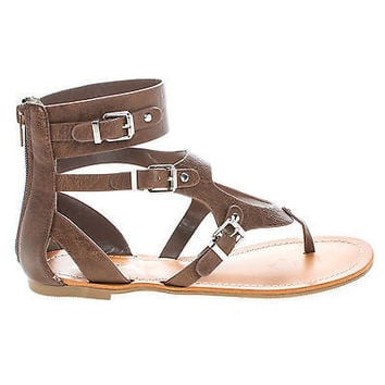 Cosmos by Soda, Gladiator Buckle Thong Slip On Flat Sandals