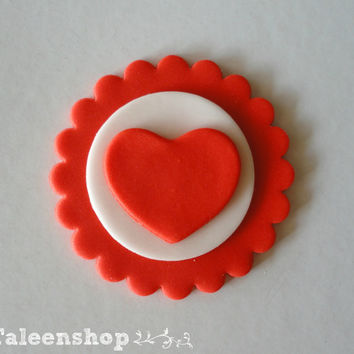 Valentine cupcake toppers / red heart